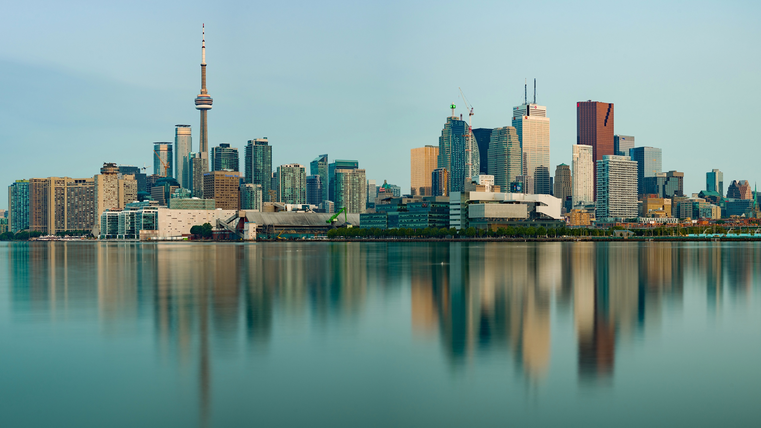 Images Toronto Canada Towers Reflected Coast Houses Cities 2560x1440