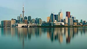 Fotos Gebäude Toronto Kanada Küste Spiegelt Türme Städte