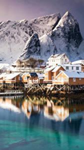 Fotos Gebirge Gebäude Küste Lofoten Norwegen
