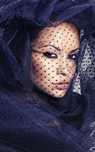 Bilder Gesicht Starren Schal Schminke Mädchens