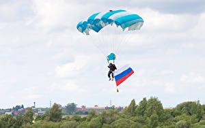 壁纸、、スカイダイビング、空、旗、ロシアの、スポーツ