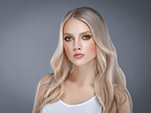 Fotos Grauer Hintergrund Blond Mädchen Haar Starren Schöne