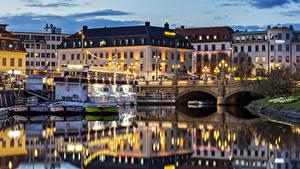 Fotos Schweden Haus Flusse Brücken Abend Schiffsanleger Gothenburg