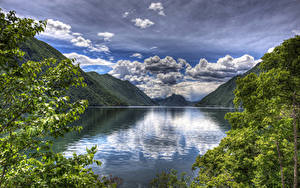 Bilder Italien See Landschaftsfotografie Gebirge Himmel Wolke Lake Lugano
