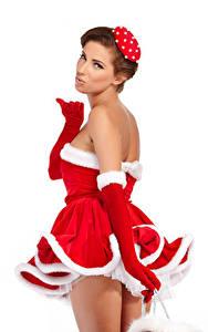 Hintergrundbilder Neujahr Weißer hintergrund Braunhaarige Kleid Uniform Handschuh Starren