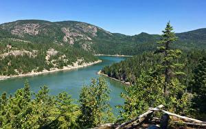 Bilder Kanada Landschaftsfotografie Flusse Wälder Quebec Hügel Fichten Natur