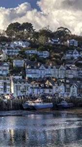 Hintergrundbilder England Haus Schiffsanleger Motorboot HDR Felsen Looe