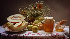 Fotos Stillleben Honig Melone Äpfel Einweckglas Lebensmittel