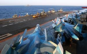 Hintergrundbilder Flugzeugträger Flugzeuge Jagdflugzeug Schiffe Russische Su-33 Russian aircraft carrier Admiral Kuznetsov Heer Luftfahrt