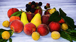 Picture Fruit Peaches Pears Blackberry