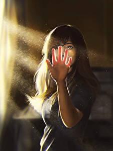 Hintergrundbilder Gezeichnet Lichtstrahl Hand Braunhaarige Mädchens