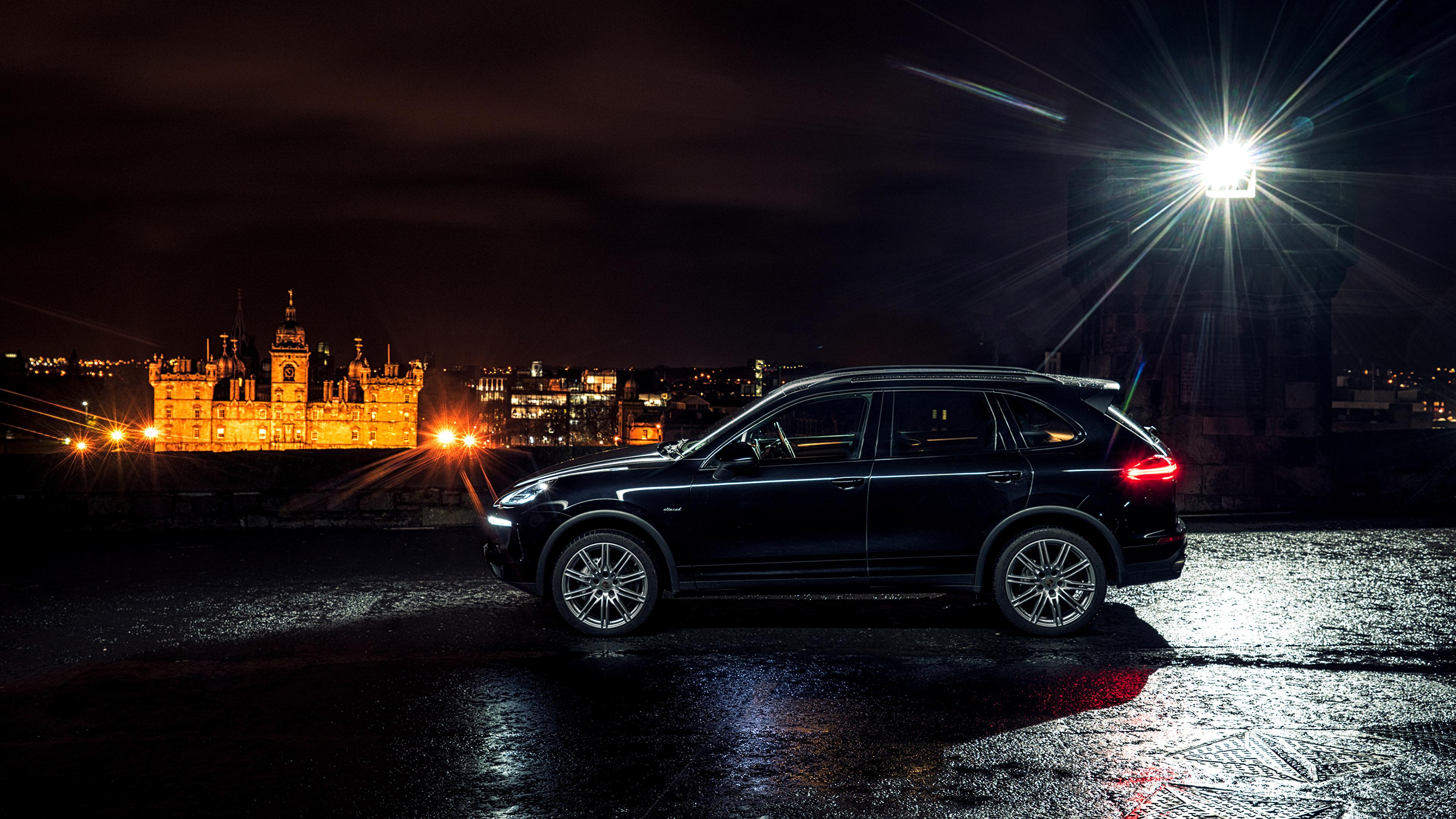 壁紙 3840x2160 ポルシェ 14 Cayenne S Diesel 黑 側面図 自動車 ダウンロード 写真