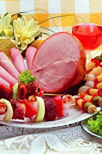 Bilder Fleischwaren Schinken Wein Schaschlik Gemüse Teller Design
