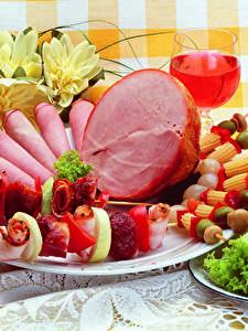 Bilder Fleischwaren Schinken Wein Schaschlik Gemüse Teller Design Lebensmittel