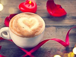 Fotos Kaffee Cappuccino Valentinstag Tasse Herz