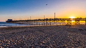 Wallpapers USA Sunrises and sunsets Coast Bridges Beaches Newport Beach Nature
