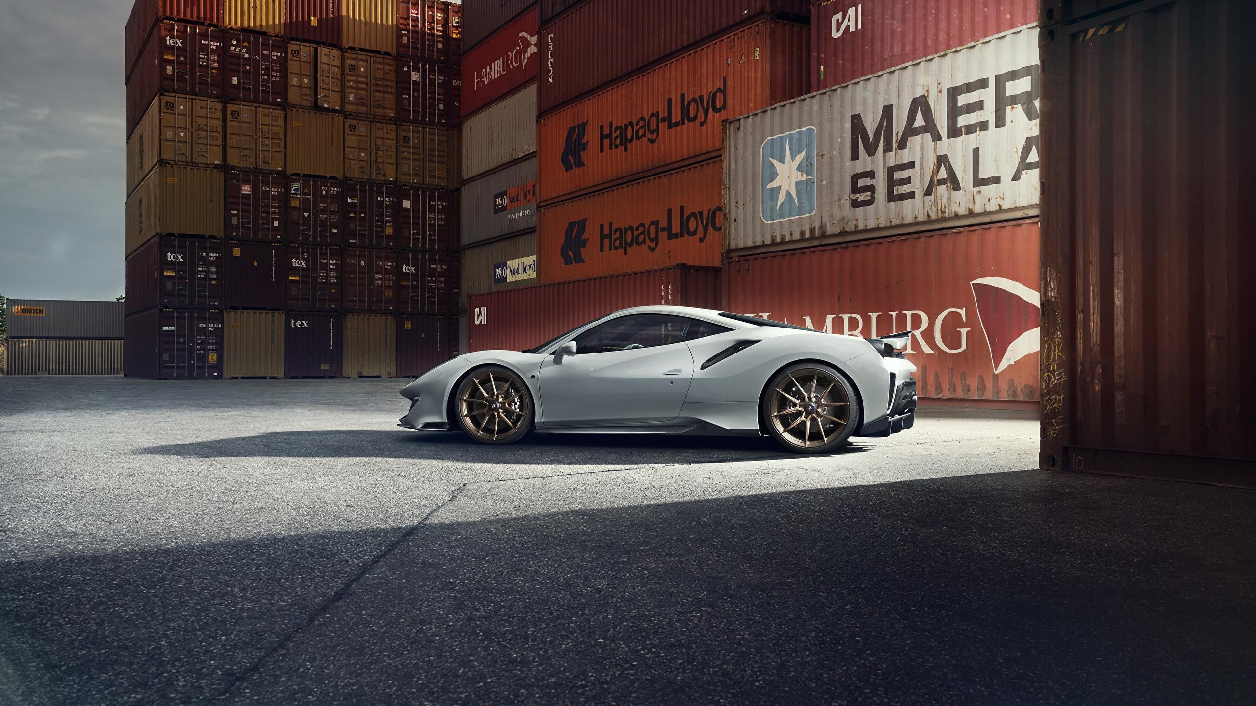 Picture Ferrari Novitec 488 Pista Grey Side Cars 2560x1440