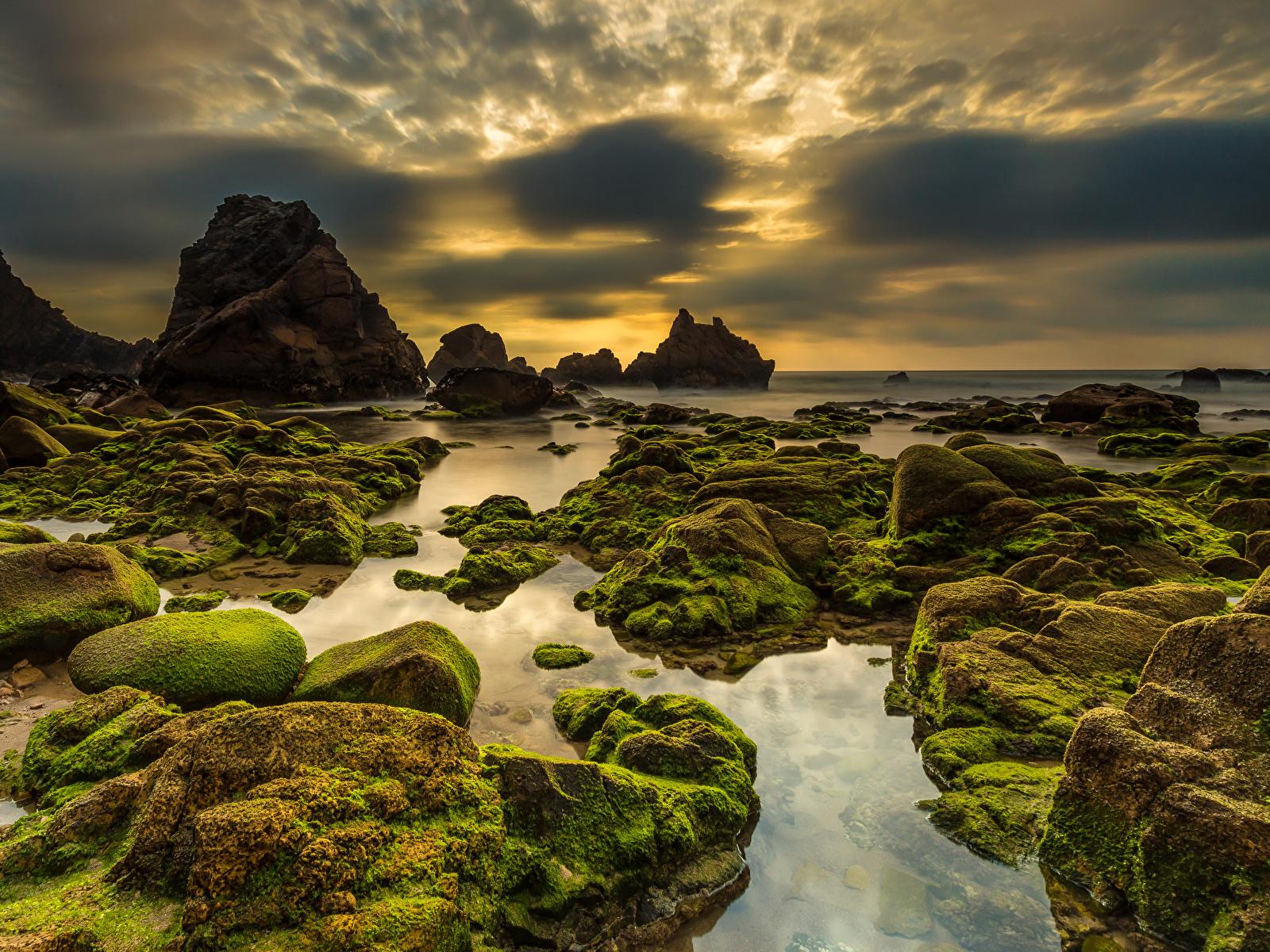 Fotos Portugal Praia da Ursa Sintra Natur Felsen Himmel Abend Stein Küste Laubmoose Wolke 1600x1200 Steine