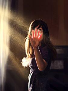 Hintergrundbilder Gezeichnet Lichtstrahl Hand Mädchens
