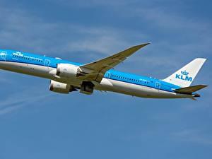 Fotos Flugzeuge Verkehrsflugzeug Boeing Seitlich KLM, AIRFRANCE, 787-9