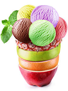 Pictures Sweets Ice cream Fruit White background Balls Design Food
