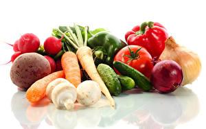Hintergrundbilder Gemüse Tomate Mohrrübe Gurke Zwiebel Radieschen Weißer hintergrund