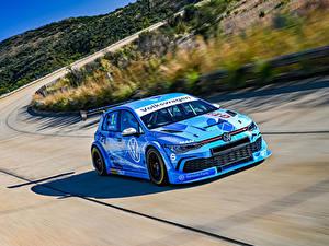 Papel de Parede Desktop Volkswagen Tuning Celeste Velocidade 2020 Golf GTI GTC automóvel