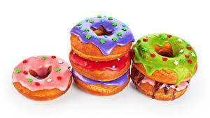 Bilder Backware Donut Zuckerguss Weißer hintergrund das Essen