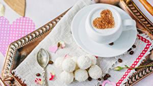Papéis de parede Dia dos Namorados Café Doçarias Bala (doce) Chávena Cereal Coração Alimentos