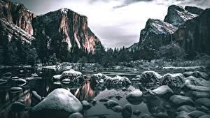 Bilder Steine Flusse Gebirge USA Landschaftsfotografie Yosemite Kalifornien Schnee Felsen