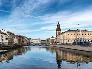 Fotos Schweden Haus Flusse Brücken Gothenburg Städte