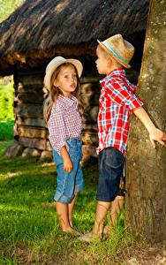 Images Trunk tree Boys Little girls 2 Hat Jeans Children