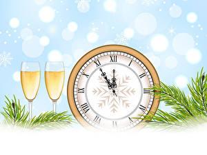 Fotos Neujahr Vektorgrafik Uhr Champagner Weinglas Zwei Ast Lebensmittel