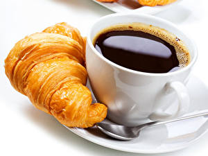 Hintergrundbilder Kaffee Croissant Tasse Frühstück