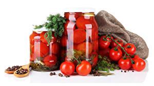 Hintergrundbilder Tomate Gewürze Dill Weißer hintergrund Weckglas das Essen
