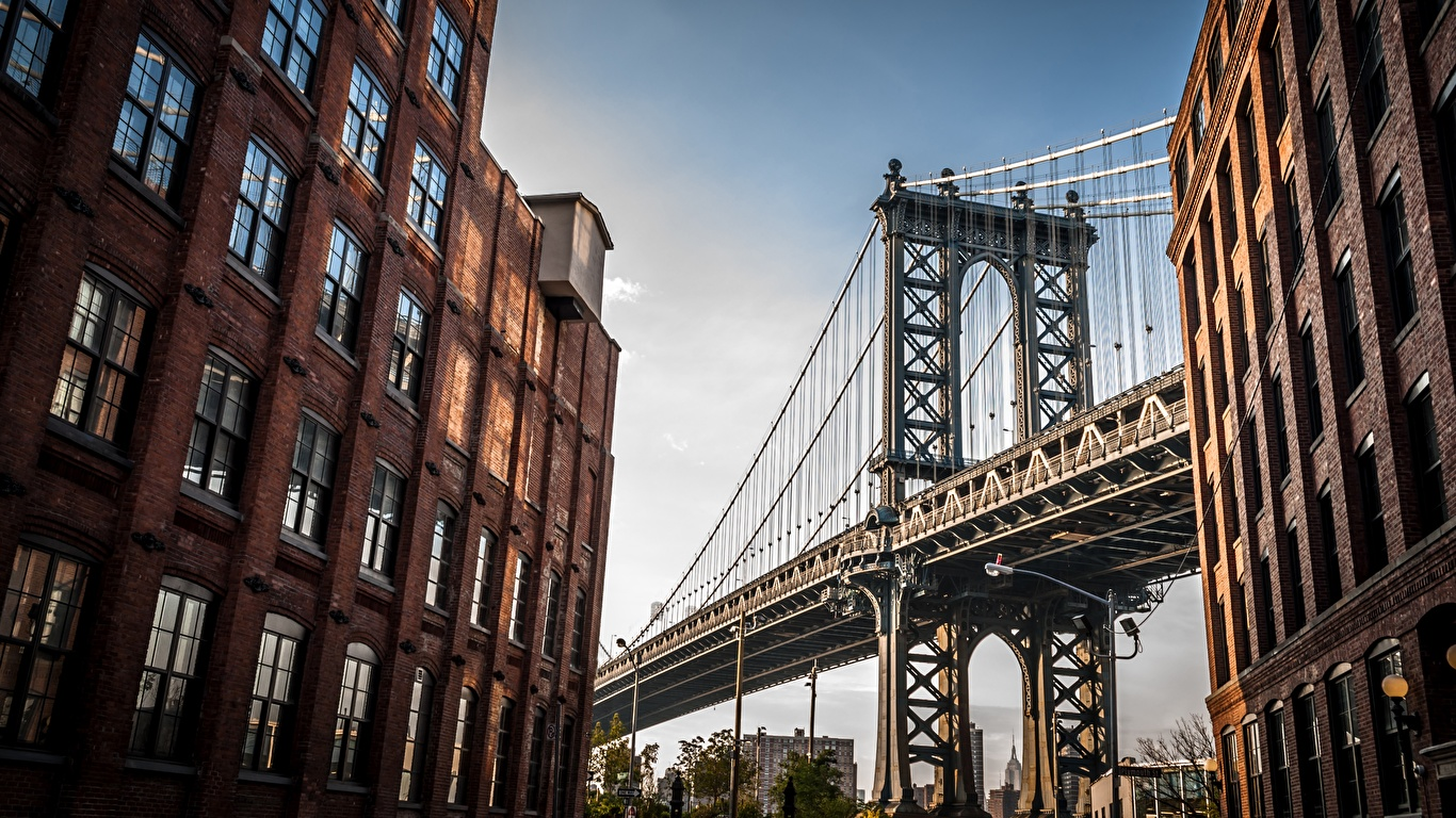 Desktop Wallpapers Manhattan New York City Usa Bridges 1366x768