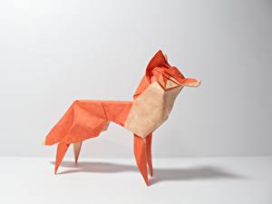 Hintergrundbilder Füchse Origami Papier Grauer Hintergrund Tiere