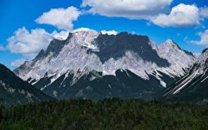 Fotos Deutschland Gebirge Wälder Landschaftsfotografie Alpen Wolke Zugspitze