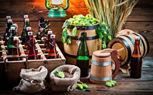 Fotos Echter Hopfen Bier Fass Flasche Spitzen Lebensmittel