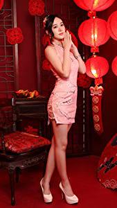 Bilder Asiatische Posiert Kleid Bein Zimmer Laterne junge Frauen
