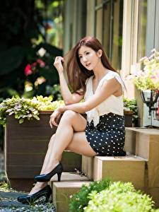 Wallpaper Asian Staircase Sitting Legs Beautiful Pose Brown haired Girls