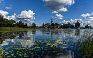 Hintergrundbilder Schweden Haus Flusse Himmel Wolke Strangnas