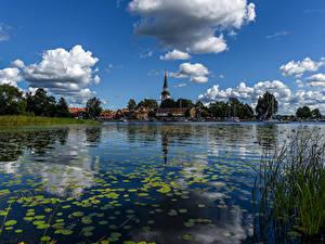 Hintergrundbilder Schweden Gebäude Flusse Himmel Wolke Strangnas