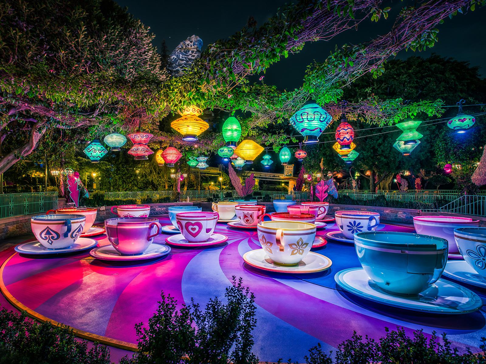 Bilder Anaheim Kalifornien Disneyland Vereinigte Staaten Natur Park Nacht Tasse Design 1600x1200 USA