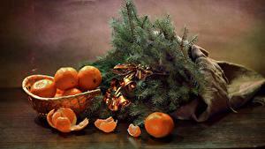Fotos Neujahr Stillleben Mandarine Ast Glocke Lebensmittel