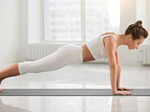 Hintergrundbilder Fitness Yoga Liegestütz Seitlich Unterarmstütz junge Frauen Mädchens