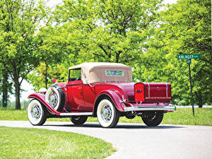 Photo Buick Vintage Coupe Red Back view 1932 Series 90 Convertible Coupe automobile