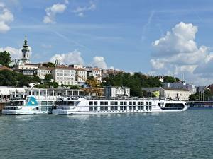 Fotos Flusse Binnenschiff Gebäude Schiffsanleger Belgrad Serbien Danube Städte