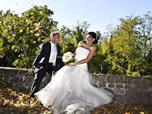 Fonds d'écran Couples dans l'amour Homme Automne Bouquets Marié homme Jeune mariée Feuille Les robes Joie