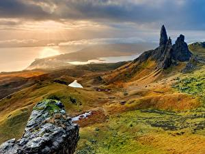 Bilder Steine Sonnenaufgänge und Sonnenuntergänge Landschaftsfotografie Hügel